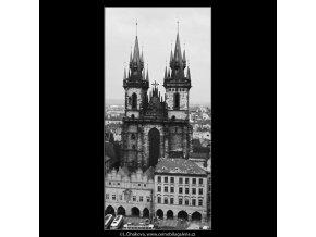 Týnský chrám (2976-7), Praha 1964 červen, černobílý obraz, stará fotografie, prodej