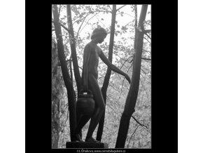 Dívka se džbánem (3277-1), Praha 1964 říjen, černobílý obraz, stará fotografie, prodej