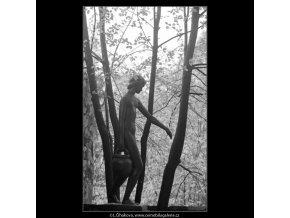Dívka se džbánem (3277-2), Praha 1964 říjen, černobílý obraz, stará fotografie, prodej