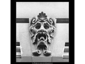 Ozdoba nade dveřmi (3465-2), Praha 1965 únor, černobílý obraz, stará fotografie, prodej