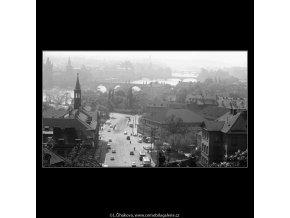 Klárov a mosty (3694-2), Praha 1965 květen, černobílý obraz, stará fotografie, prodej