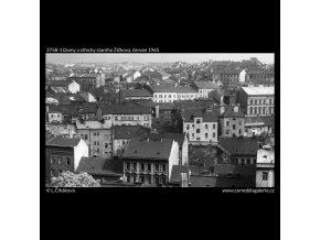 Domy a střechy starého Žižkova (3758-1), Praha 1965 červen, černobílý obraz, stará fotografie, prodej
