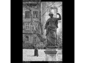 Socha a listoví (4459), Praha 1966 duben, černobílý obraz, stará fotografie, prodej