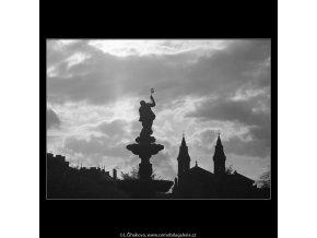 Medvědí fontána v protisvětla (4468), Praha 1966 duben, černobílý obraz, stará fotografie, prodej
