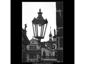 Lampa na Novoměstské věži (4544-1), Praha 1966 květen, černobílý obraz, stará fotografie, prodej