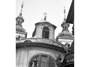 Vlašská kaple a kostel sv.Salvátora (4647-2), Praha 1966 červenec, černobílý obraz, stará fotografie, prodej