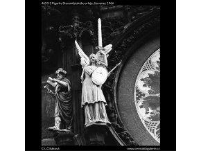 Figurky Staroměstského orloje (4653-2), Praha 1966 červenec, černobílý obraz, stará fotografie, prodej