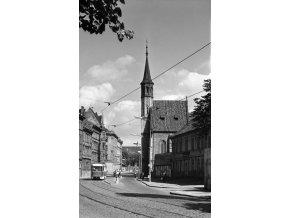 Kostel Panny Marie Na slupi (4671-2), Praha 1966 srpen, černobílý obraz, stará fotografie, prodej