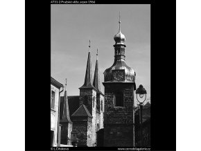Pražské věže (4731-2), Praha 1966 srpen, černobílý obraz, stará fotografie, prodej