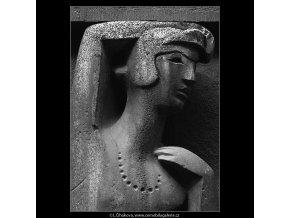 Ozdobný reliéf před obchodem (4895-1), Praha 1966 říjen, černobílý obraz, stará fotografie, prodej
