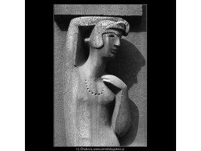 Ozdobný reliéf před obchodem (4895-2), Praha 1966 říjen, černobílý obraz, stará fotografie, prodej