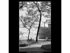 Parčík a lavičky (4528), žánry - Praha 1966 květen, černobílý obraz, stará fotografie, prodej