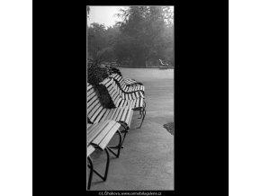Prázdné lavičky (4856-2), žánry - Praha 1966 září, černobílý obraz, stará fotografie, prodej