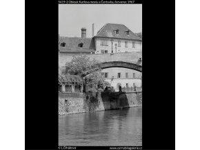 Oblouk Karlova mostu a Čertovka (5419-2), Praha 1967 červenec, černobílý obraz, stará fotografie, prodej