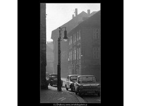 Lucerna a část domů (5033), Praha 1966 prosinec, černobílý obraz, stará fotografie, prodej