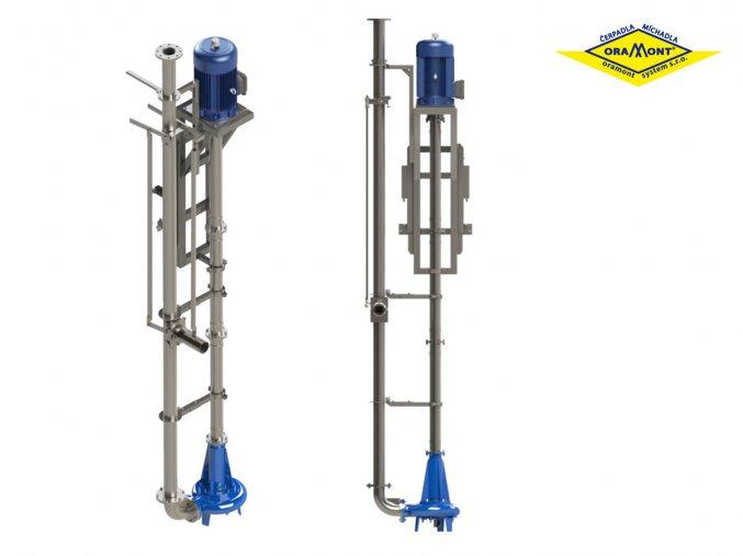Vertikální nerezové čerpadlo PVORM7,5 s míchací tryskou na kejdu a digestát