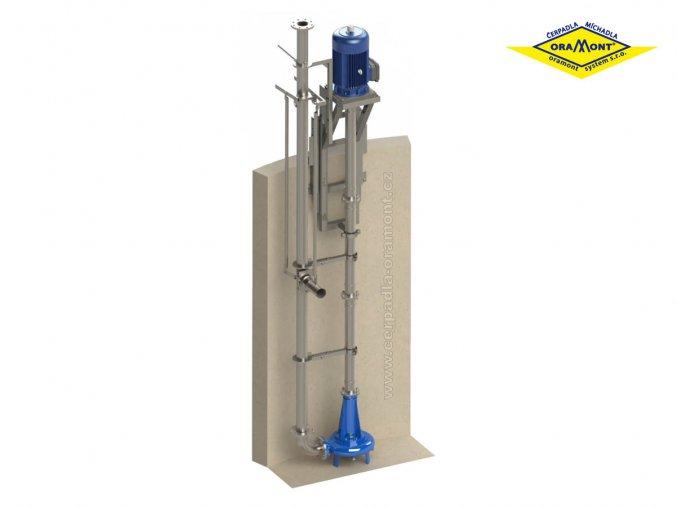 Vertikální nerezové čerpadlo PVORM18,5 s míchací tryskou na kejdu a digestát