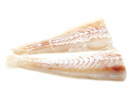 Two alaska cod filliets isolated on a white background