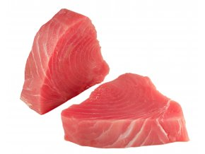 Raw tuna steaks on white background 1
