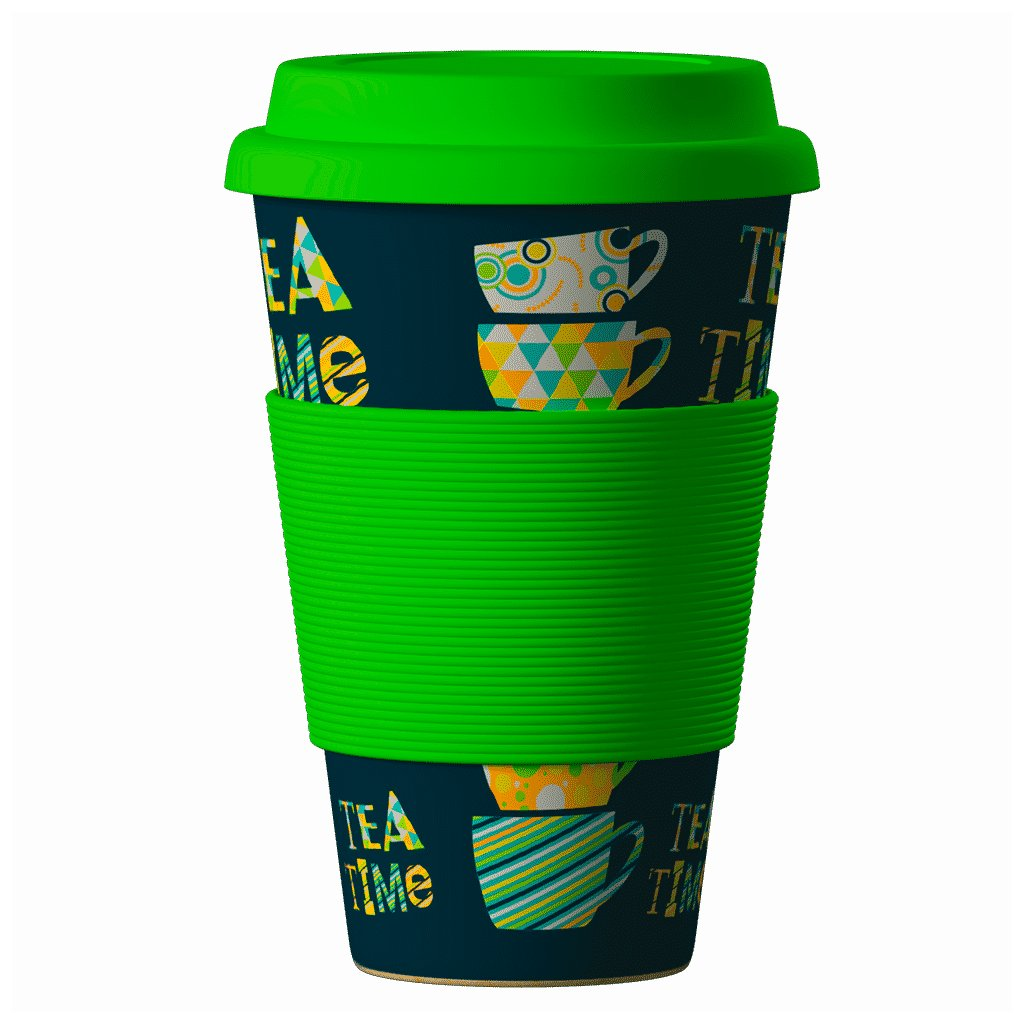 Bamboo Cup Time For Tea Green