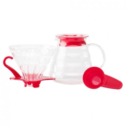 Hario Set V60 02 Glass Coffee Brewing Kit Red