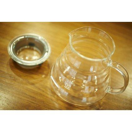 Hario V60 Range server 600 ml - skleněná servírovací konvička na kávu s víčkem