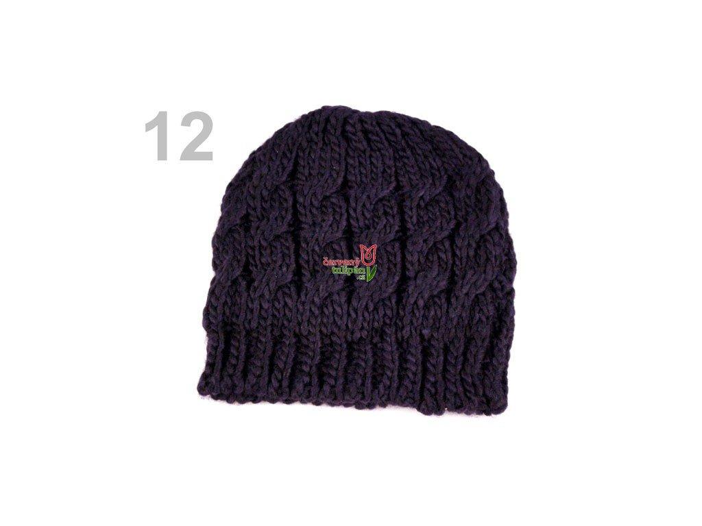 Čepice zimní pletená dámská   dívčí fialová tmavá - Červený Tulipán c0b24d9a57