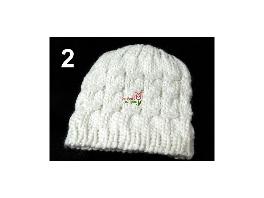 Čepice zimní pletená dámská   dívčí bílá - Červený Tulipán 652ed07ba50