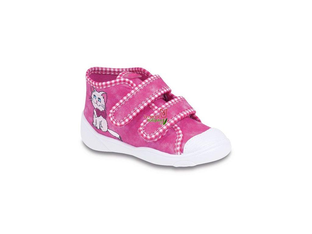 Tenisky   plátěnky   botičky Befado 212P037 růžové s kočkou ... 734af9a100