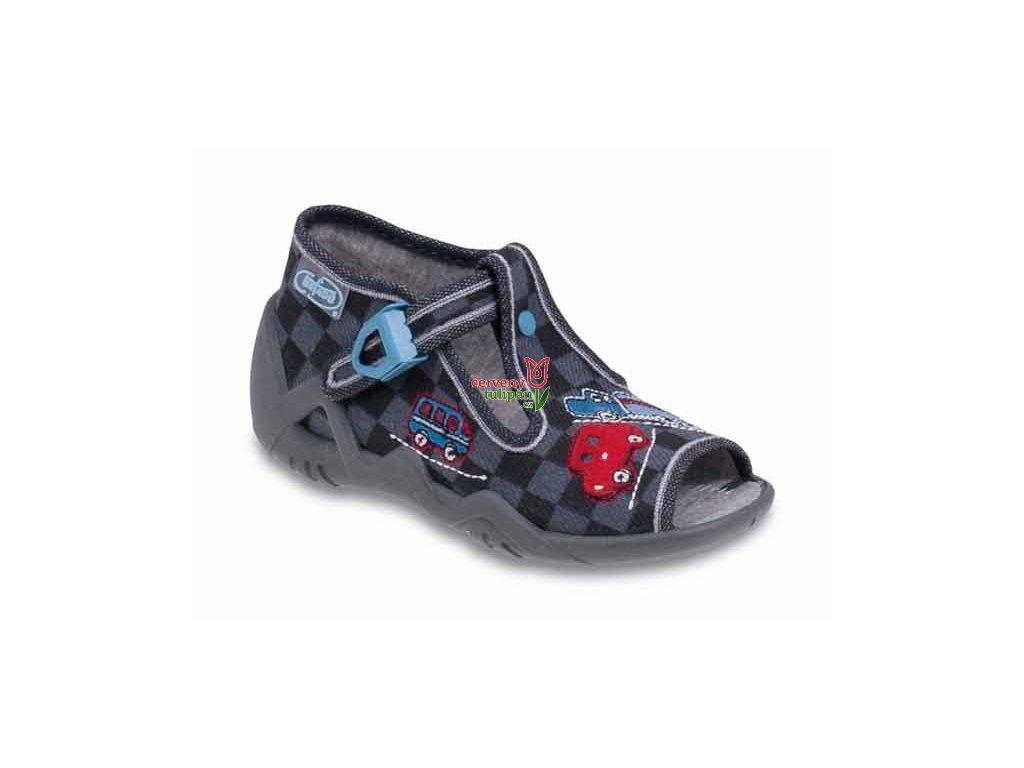 Bačkůrky / papučky Befado 217P050 červená a modrá auta