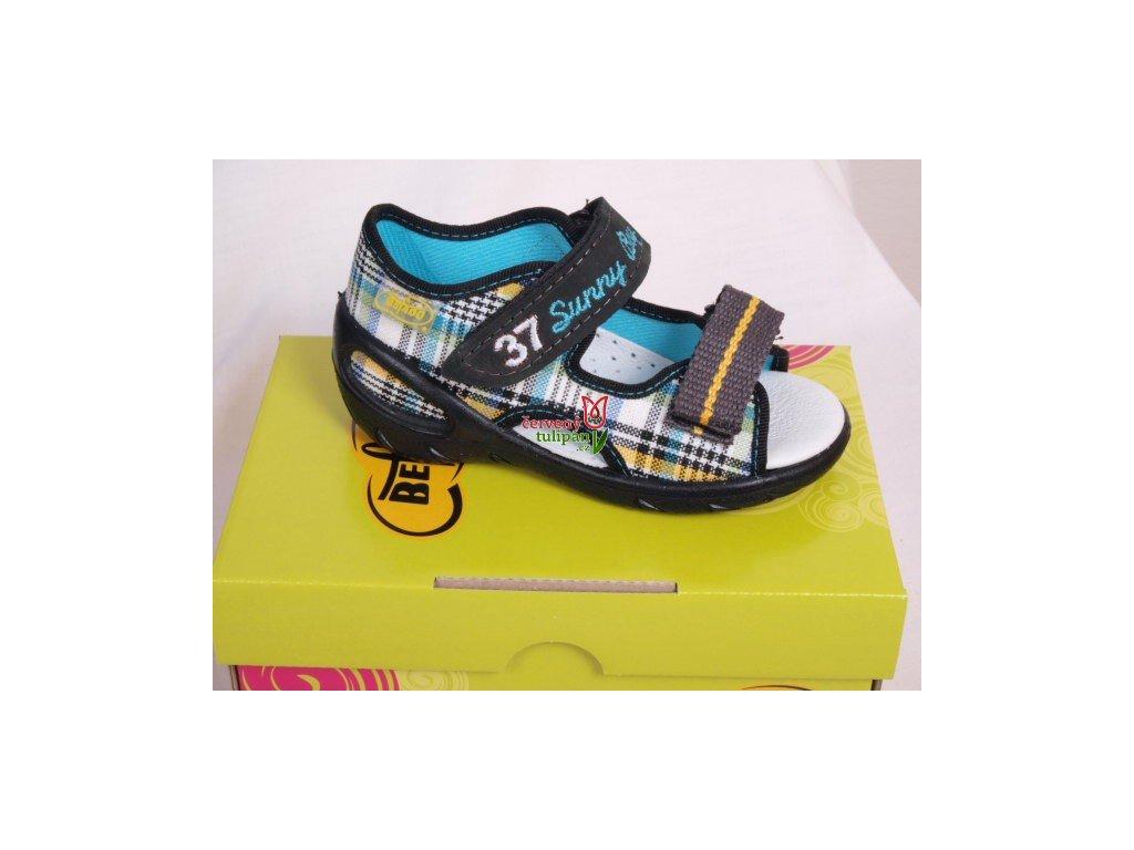 Sandálky s koženou stélkou Befado m-žl káro 065X040