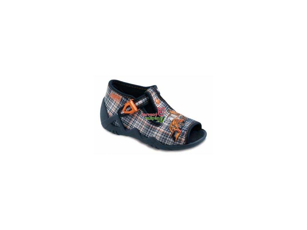 Bačkůrky / sandálky s oranžovým bagrem