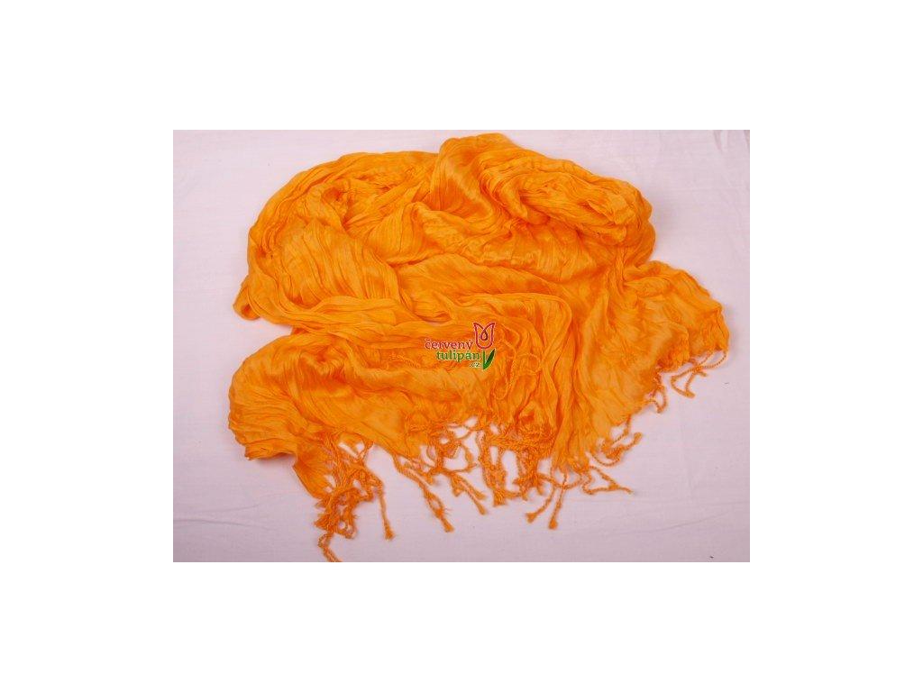 Šála / šátek - mačkaná oranžová ST21