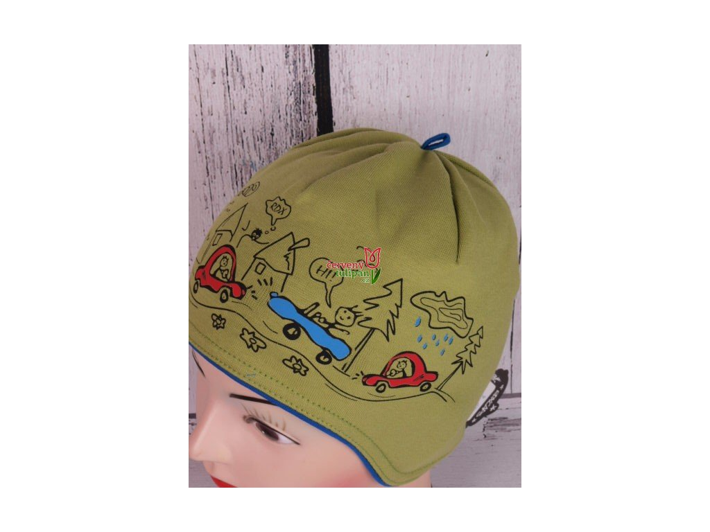 Čepice RDX 2825 zelená s krytím uší s auty - Červený Tulipán 98c3a3c6ad