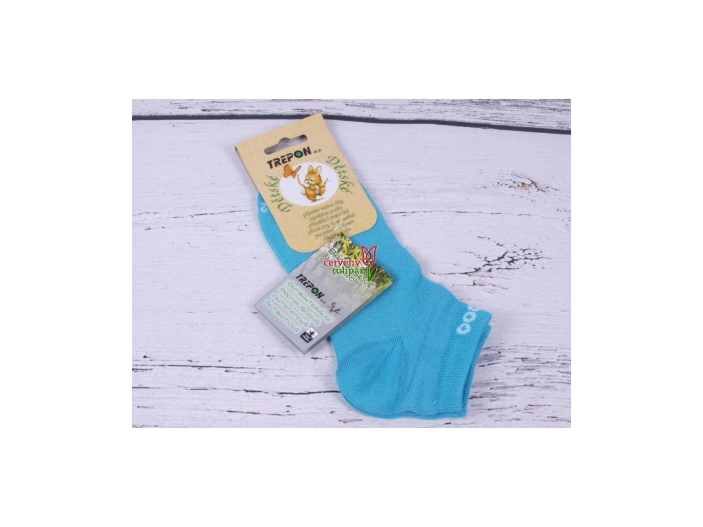86047e61545 Dětské ponožky TREPON BAMBIK bambusové kotníkové TYRKYS - Červený ...