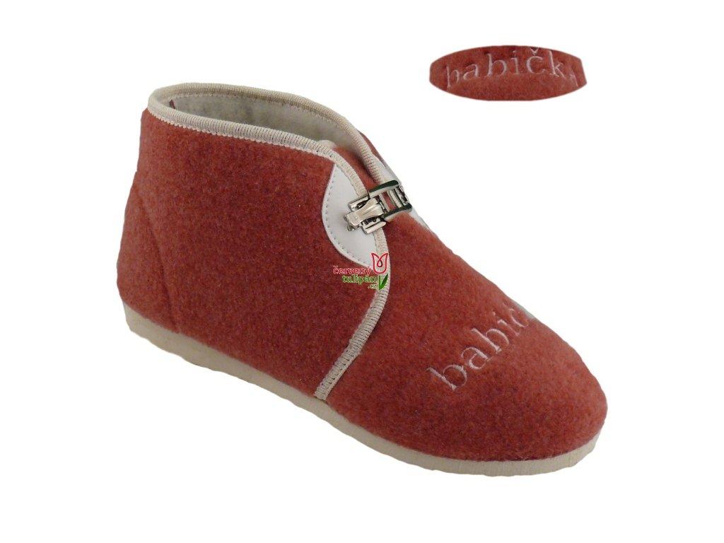Bačkory papuče dámské Pegres 3133 důchodky vyšší s přezkou cihlové BABIČKA ea774ff6db