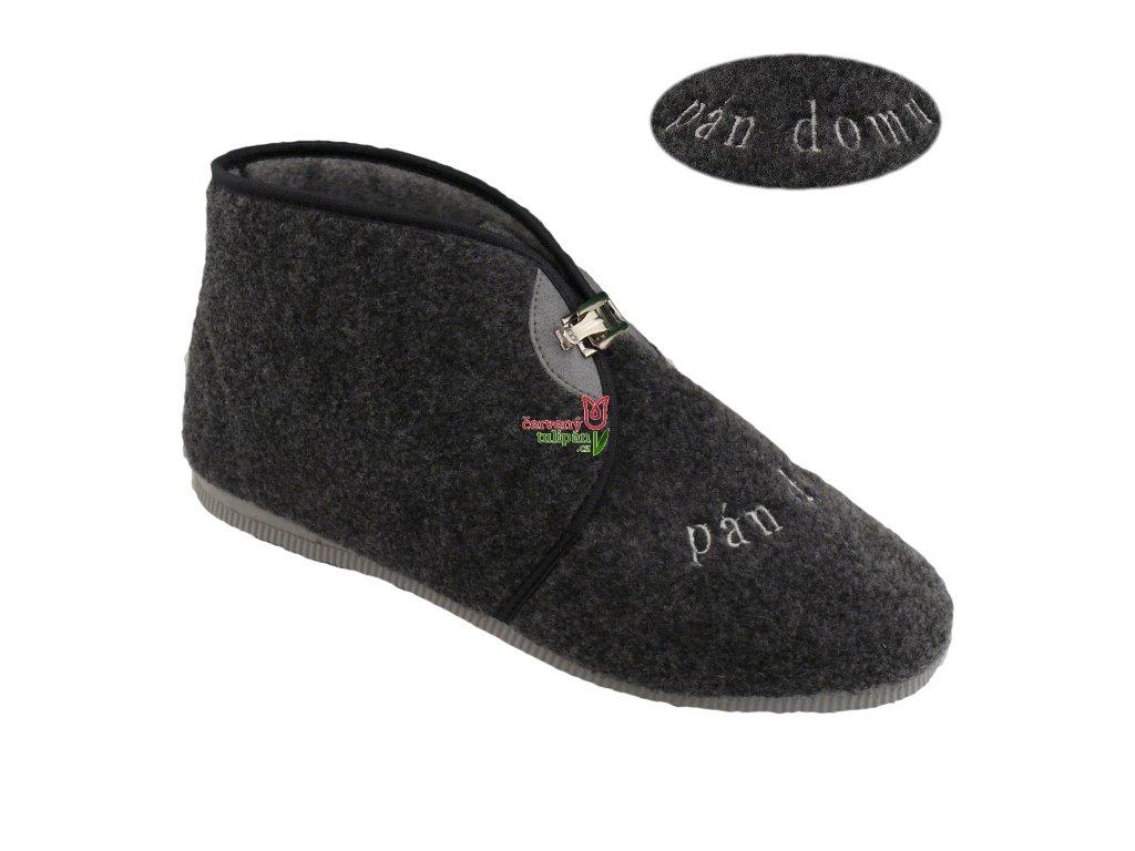 Bačkory papuče pánské Pegres 3113 důchodky vyšší s přezkou šedé PÁN DOMU 89cee412ab