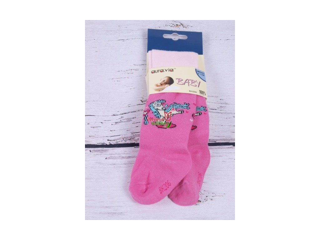 Punčocháče punčocháčky punčošky růžové s koníkem - Červený Tulipán 8320a22a06