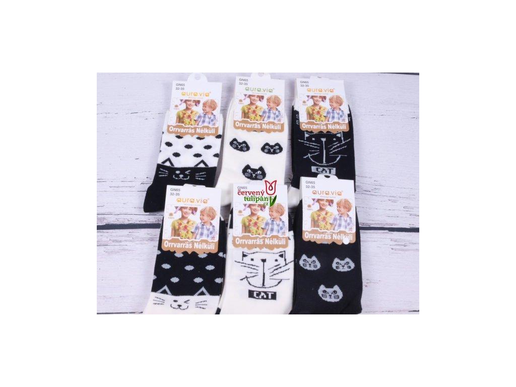 Ponožky aura.via černobílé s kočkami - Červený Tulipán 84cccdfe54