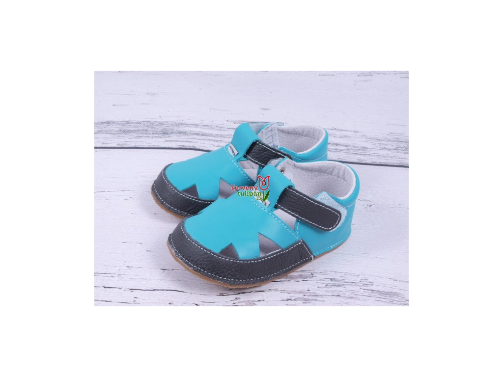 Bosé sandálky Pegres barefoot capáčky bačkůrky tyrkys modré ... e5eb3ada09