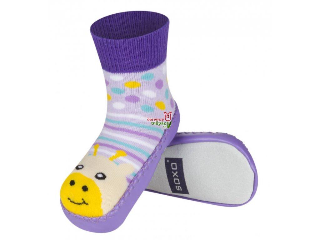 1ad23716b2ba Barefoot bosé bačkůrky ponožky s koženou stélkou Soxo fialkové a žirafkou