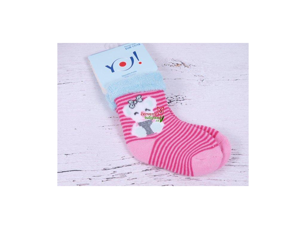 Ponožky YO froté růžové proužkované s obrázkem - Červený Tulipán 2f430d31ec