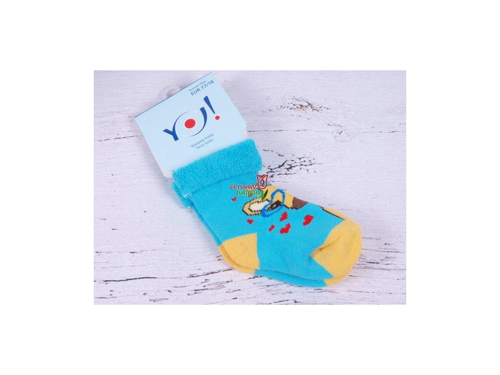 d9433fcc884 Ponožky YO froté tyrkys s žirafou - Červený Tulipán