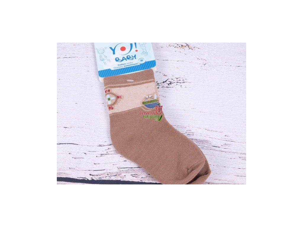 bdb63d29dd3 Ponožky YO Baby hnědé s loďkou - Červený Tulipán