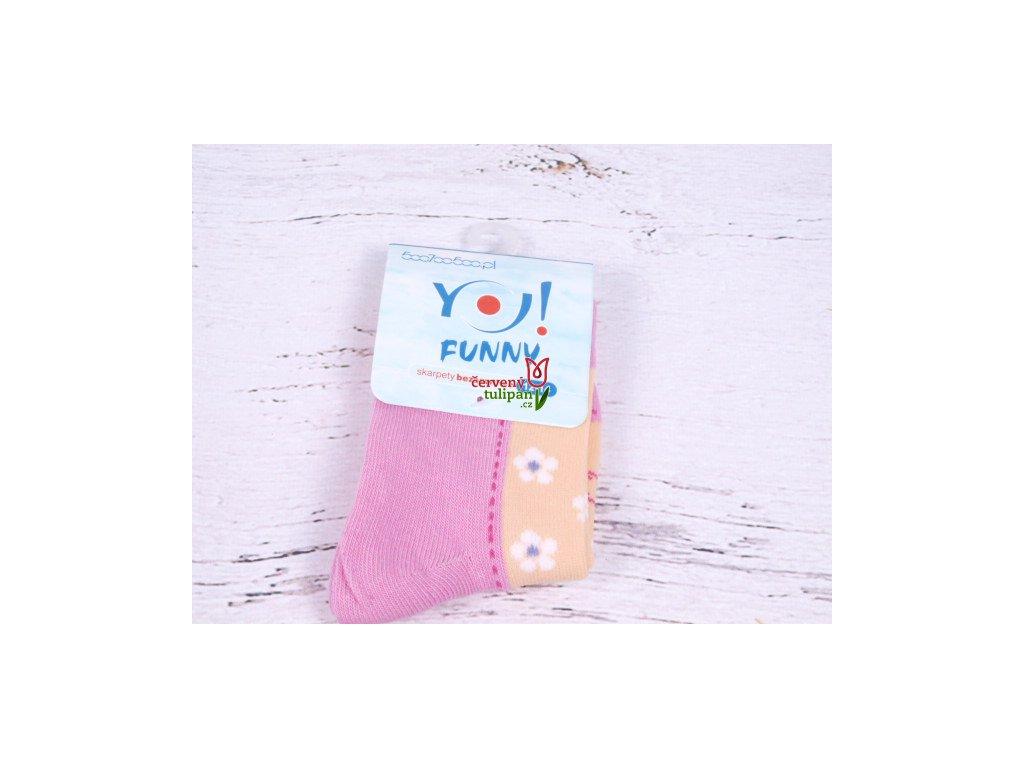 Ponožky YO Funny růžovomeruňkové s kytičkami - Červený Tulipán 723ec25837