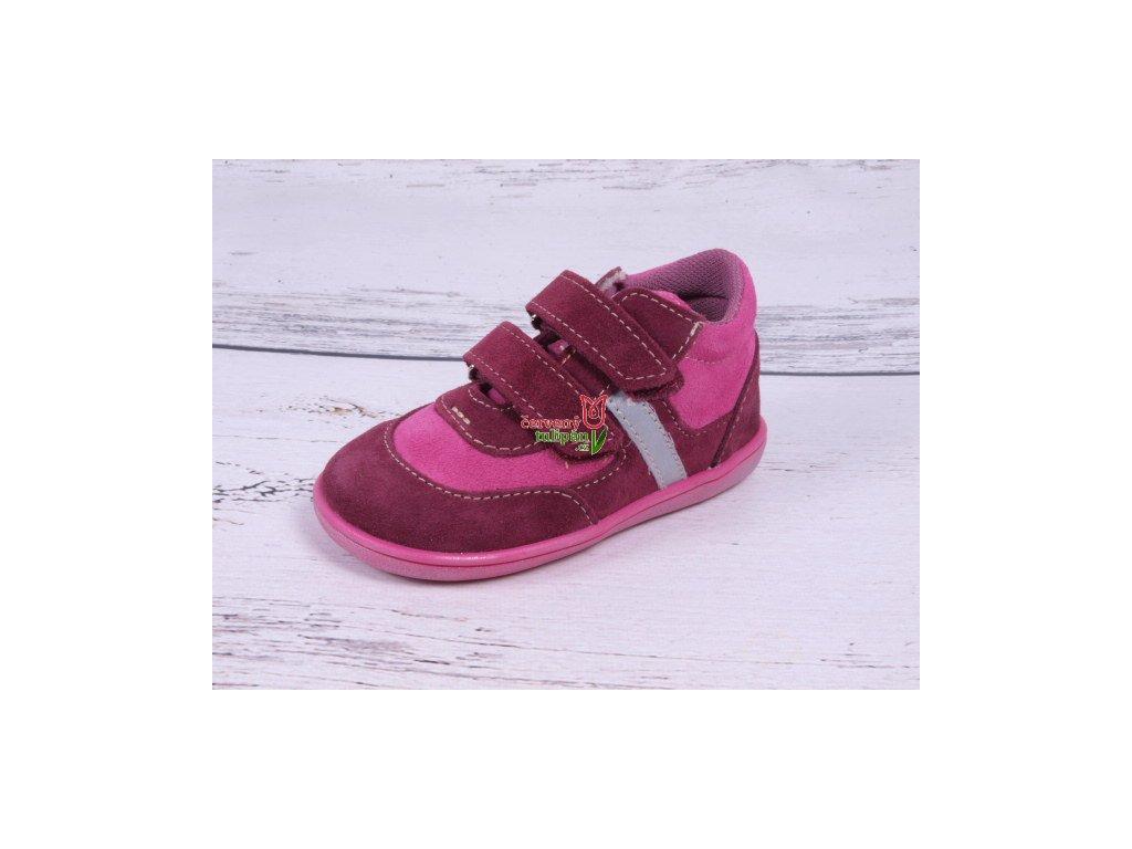 Celoroční kožené botičky obuv Jonap 051 light barefoot vínovorůžové f383b212ad