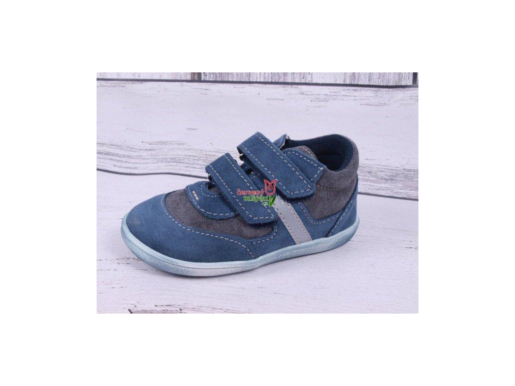 Celoroční kožené botičky obuv Jonap 051 light barefoot šedomodré 42ec893807