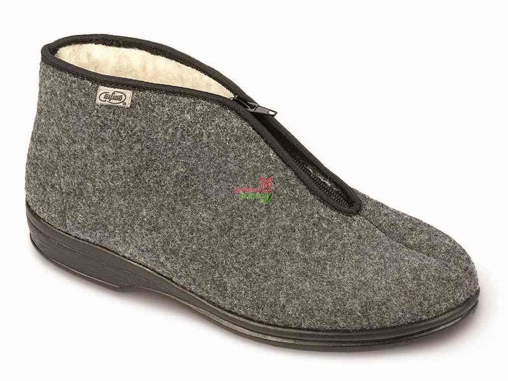 Bačkory papuče důchodky Befado 100M047 teplé šedé na zip - Červený ... ecc69d58ee