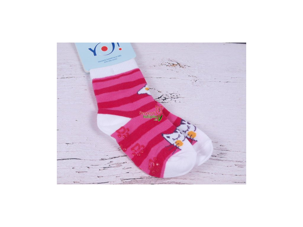 b69e63ca00d Ponožky YO ABS protiskluzové růžové pruhované s kočičkou - Červený ...