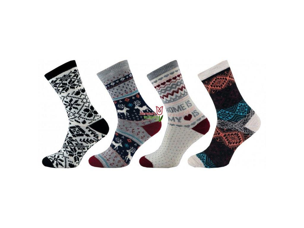 Teplé ponožky Novia Winter edition 1231 termo ornament - Červený Tulipán 85b615c772